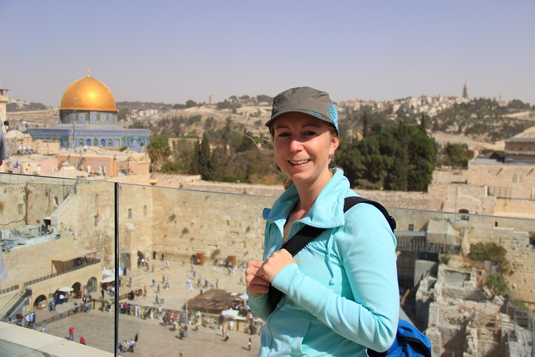 Backpacker-Stil verbessert in Jerusalem am Tempelberg Israel