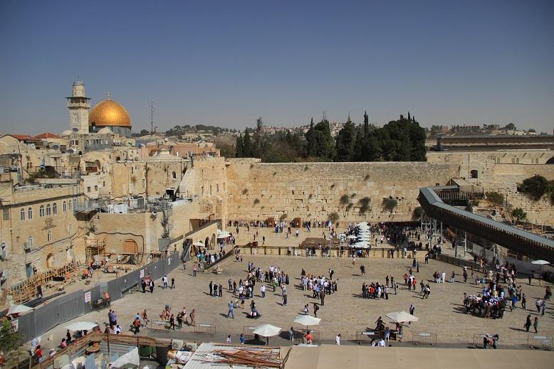 Blick über Klagemauer und Tempelberg in Jerusalem, Israel