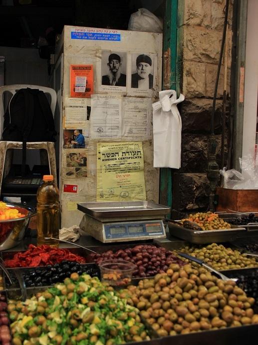 Aushang im Yehuda Markt in Jerusalem, Israel