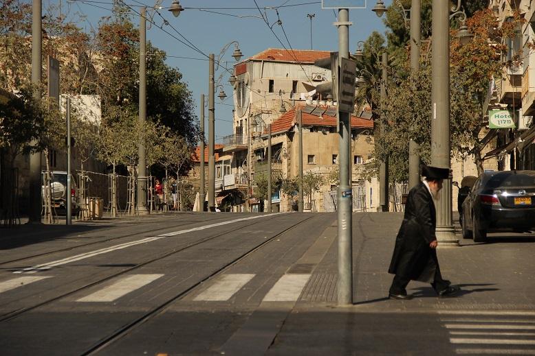 Straßen in Jerusalem Israel bei Shabbat